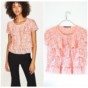 NWT Zara lace pink tiered blouse in size small🌸
